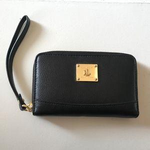Lauren Ralph Lauren Black leather wristlet/ wallet
